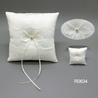 New Ivory Lace Wedding Satin Bowknot Cushion Bearer Pearl Ceremony Ring Pillow