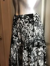 NWT $99 Nine West Woman Maxi Skirt Silk Multi Layer Black Floral Plus Size 16W