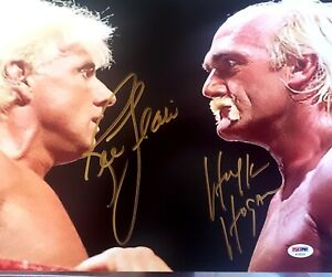 "11x14 SIGNED RICK FLAIR/ HULK HOGAN PHOTO IN GOLD PSA DNA ""LAST ONE"" STUNNING"