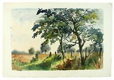 Apple Orchard Signed Unframed Landscape Watercolour Painting M Harrison Retro