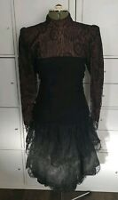 Tally Boutique new york Morticia Goth emo black lace ruched dress 6US 8/10 uk