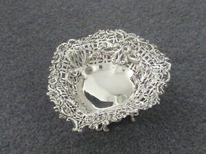 Levi & Salaman pierced antique hallmarked silver heart shaped bon-bon dish