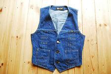"""Rara De Colección Década de 1970 Tela de Jeans Chaleco Chaleco Plisado Wrangler pequeño cabe XS 34"""""""