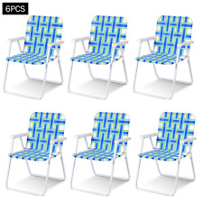 Lawn Chair 6 pcs Folding Camping Patio Webbed Outdoor Event Seating Blue or Red