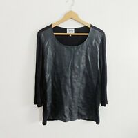 Lynn Ritchie Black Vegan Leather Front Long Sleeve Blouse Size Large