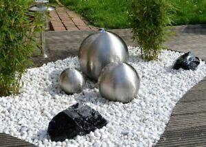 Kugelbrunnen 3er-Set 30/25/20 cm Edelstahl matt incl. LED Brunnenkugel Brunnen