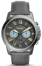 Fossil FS5183 Grant Gunmetal Dial Grey Leather Strap Chronograph Men's Watch