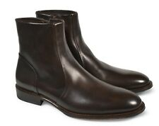 A.Testoni Men dark brown leather calf classic ankle boots 10 US (9 UK) NEW