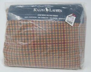 New RALPH LAUREN HOME Churchill plaid King fitted sheet RARE