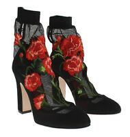 DOLCE & GABBANA RUNWAY Socks Black Pumps With Floral Embroidery Size 41 /11 NIB