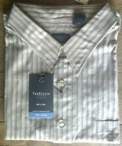 😍  NWT Size 3XL Van Heusen Studio Men's Long Sleeve Shirt Tan Stripe No Iron
