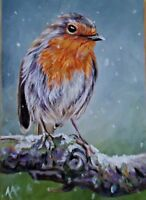 Original ACEO By Alison Armstrong- Miniature Wildlife / Bird Painting - Robin