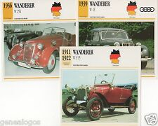 3 FICHES AUTOMOBILE ALLEMAGNE CAR WANDERER W 3/15 W 23 W 25K 1911-1939