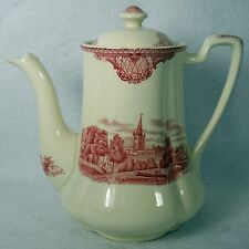 JOHNSON BROTHERS china OLD BRITAIN CASTLES pink crown stamp MINI COFFEE POT &LID