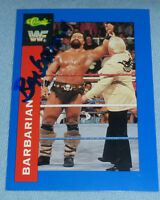 The Barbarian Signed 1991 Classic WWF WWE Card #62 Powers of Pain Autograph WCW