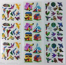 Vtg Sandylion BIRD HOUSE BLUE JAY Prismatic Glitter Glittery Shiny Sticker Lot