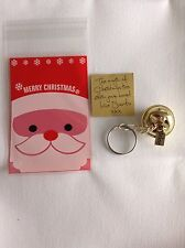 Gold I believe polar express style metal jingle santa christmas Key Ring Gift