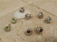 Sterling Silver 925 GEMSTONE Cable Stud Earrings A Great Gift Idea!