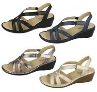 LADIES SUMMER SANDALS MID WEDGE HEEL ANKLE STRAP RIPTAPE FASTENING SHOES F3111