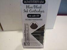 1X12 MONTEVERDE SHORT INK CARTRIDGES- MIDNIGHT BLACK-FITS MOST FOUNTAIN PENS