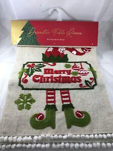 """Merry Christmas Elf Table Runner 14"""" X 72"""""""