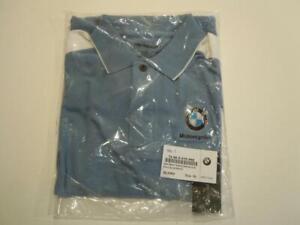 BMW 72600415998 MENS XL POLO SHOULDER BLOCK SHIRT BLUE / WHITE