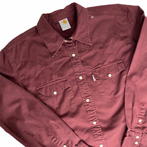 Carhartt For Women XL Burgundy Pearl Snap Button Up Workwear Southwestern