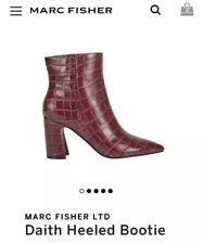 MARC FISHER Daith Heeled Bootie Dark Red Croco Embossed Patent Sz 9/40 New $210
