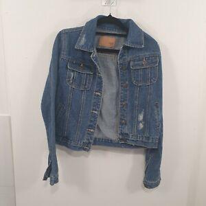 Distressed Blue Denim Jacket Sz S Fit  8