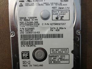 "Hitachi HTS725050A7E630 PN:0J26005 MLC:DA5182 500gb Sata 2.5"" HDD"