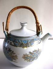 EUC JAPANESE PORCELAIN L. BLUE/ GOLD ACCENT FLORAL DESIGN TEA POT, 32 OZ.