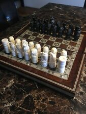 Chess Set Board Vintage Egyptian Mother of Pearl Mahogany Wood Hand Carved
