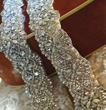 Wedding Bridal Sash Belt, Crystal Pearl Wedding Dress Sash Belt = 17 1/2 long