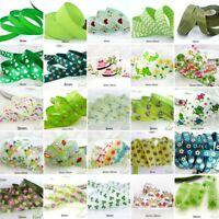 "25x1Yard Assorted Satin Grosgrain Ribbon Lot 3/8""--1.5"" Green Theme Craft Bow-A"