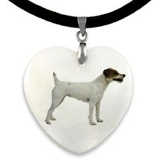 Parson Jack Russell Terrier Natural Mother Of Pearl Heart Pendant Necklace Pp45