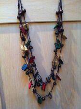 Dark Cord 3 Row Coloured Bead Necklace - New!!