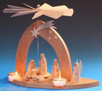 Pyramide Christi Geburt mit Hirte natur Schalling Teelicht Seiffen Erzgebirge