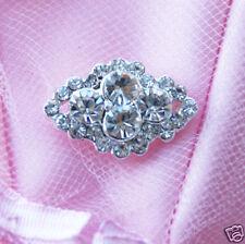 "10 Diamond Square 7/8"" Rhinestone Crystal Button Buckle Wedding Invitation BT090"