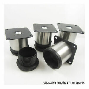 4 STAINLESS STEEL ADJUSTABLE KITCHEN CABINET ROUND / SQUARE LEGS SUPPORT COUNTER