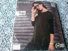 Black Cotton Top, Faux Leather Detail, Side Zip at Hem, Med. 14/16, Esmara, BNWT
