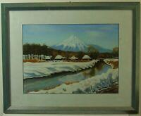 "M. Takahashi ""Ansicht des Fujiyama"" Pastell/Tempera, signiert"