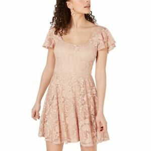 B DARLIN NEW Women's Lace Split Sleeve Mini Fit & Flare Dress TEDO