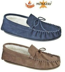 MENS SLIPPERS  REAL LEATHER MOCCASIN NAVY BLUE TAUPE  WOOL LINED SIZES 6 - 14 UK
