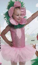 Sparkle Flower Child's Dance Costume 2-3C 3 pcs tutu headpiece leotard PINK