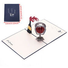 3D Pop Up Red Wine Greeting Card Christmas Valentines Birthday Invitation Gift