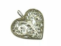 Ornate Filigree .925 Sterling Silver Heart Necklace Pendant - FREE S&H - Wow!!