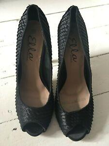 "Ella ""Bianca"" Black Satin Peep Toe High Heel Shoes New in Box Sizes 7 & 8 Sexy"