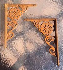 RUSTY cast iron ornate wall SHELF BRACKETS - pairs available