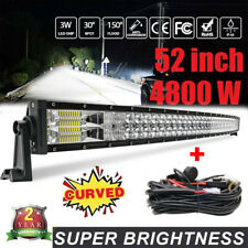 Curved 52inch Led Work Light Bar Flood Spot Driving Boat ATV For FORD + Harness