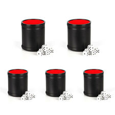 Hand Shaking PU Leather Dice Cup with D5 Dice Set Party Clubs Games Tool